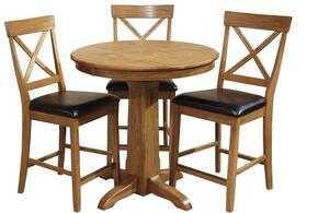 Family Dining FD-TA-L36125GS-CNT-C  Dining Room Gathering Pedestal Table and 4 Chairs in Chestnut
