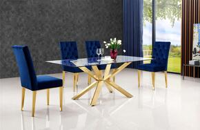 Capri Collection MER5PCRECDH4BLUKIT3 5-Piece Dining Room Sets with Rectangular Dining Table, and 4x Blue Dining Chairs in Gold