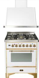 "2-Piece True White Kitchen Package with UM76DVGGB 30"" Freestanding Gas Range (Brass Trim, 5 Burners, Timer) and UAM76B 30"" Wall Mount Range Hood"
