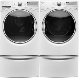 "White WFW9290FW 27"" Front Load Washer with WGD92HEFW 27"" Gas Dryer and 2 XHPC155XW Pedestals"