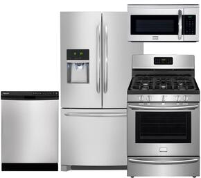 "Gallery 4-Piece Smudge-Proof Stainless Steel Kitchen Package with FGHF2366PF 36"" Freestanding French-Door Refrigerator, FGGF3035RF 30"" Freestanding Gas Range, FGBD2438PF Full Console Dishwasher and FGMV175QF Over-the-Range Microwave"