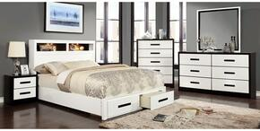 Rutger Collection CM7298KSBDMCN 5-Piece Bedroom Set with King Storage Bed, Dresser, Mirror, Chest and Nightstand in White Finish