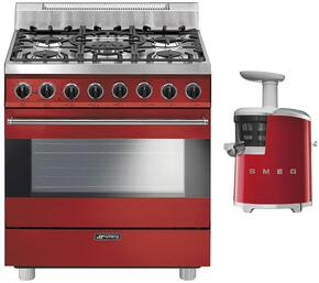 "2-Piece Red Kitchen Package with C30GGRU 30"" Freestanding Gas Range and SJF01RDUS 7"" Slow Juicer"