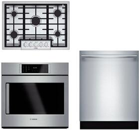 "3-Piece Stainless Steel Kitchen Package with NGMP055UC 30"" Natural Gas, HBLP451RUC 30"" Single Wall Oven, and SHX87PW55N 24"" Fully Integrated Dishwasher"
