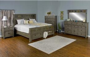 Scottsdale Collection 2322CGQBDMN 4-Piece Bedroom Set with Queen Bed, Dresser, Mirror and Nightstand in Cadet Gray Finish