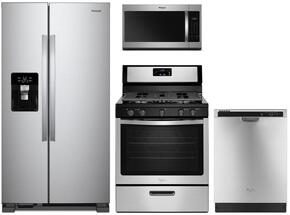"4-Piece Kitchen Package with WRS325SDHZ 36"" Side by Side Refrigerator, WFG505M0BS 30"" Freestanding Gas Range, WMH31017HS 30"" Over the Range Microwave, and WDF540PADM 24"" Full Console Dishwasher in Stainless Steel"