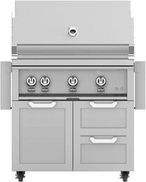 "36"" Freestanding Natural Gas Grill with GCR36 Tower Grill Cart with Triple Doors, in Steeletto Stainless Steel"