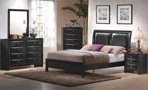 Briana 200701KEDM2NC 6-Piece Bedroom Set with King Platform Bed, Dresser, Mirror, 2 Nightstands and Chest in Black