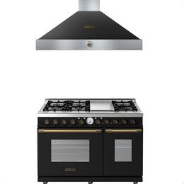 2-Piece Black Matte with Bronze Accent Kitchen Package with RD482SCNB 48