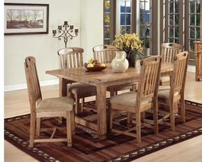 Sedona Collection 1116RODT6C 7-Piece Dining Room Set with Extension Table and 6 Chairs in Rustic Oak Finish