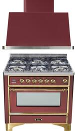 "2-Piece Burgundy Kitchen Package with UM906DVGGRB 36"" Freestanding Gas Range (Brass Trim, 6 Burners, Timer) and UAM90RB 36"" Wall Mount Range Hood"