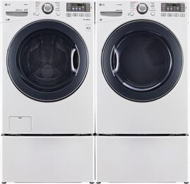 "White Front Load Laundry Pair with WM3770HWA 27"" Washer, DLGX3571W 27"" Gas Dryer, and WDP4W Pedestals"