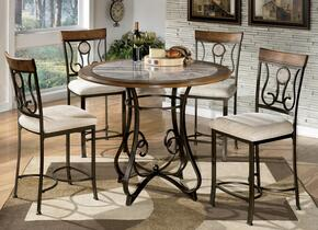Hopstand D31412413 5-Piece Dining Room Set with 4 Upholstered Barstools and Counter Height Table in Medium Brown