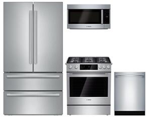 "4-Piece Kitchen Package with B21CL81SNS 36"" Counter Depth French Door Refrigerator, HGI8054UC 30"" Slide-in Gas Range, HMV5053U 30"" Over the Range Microwave Oven and SHXM98W75N 24"" Built In Dishwasher in Stainless Steel"