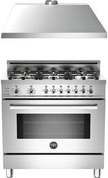 "Professional 2-Piece Stainless Steel Kitchen Package with PRO366DFSX 36"" Freestanding Natural Gas Range and KU36PRO1XV 36"" 400 CFM Range Hood"