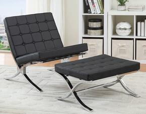 Elian 96371CO 2 PC Living Room Set with Accent Chair + Ottoman in Black and Chrome Finish