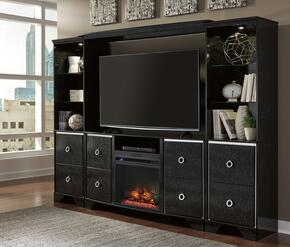 Amrothi Collection W257ENTSETF01 5-Piece Entertainment Center with TV Stand, W100-01 Fireplace Insert, Bridge and 2 Piers in Black