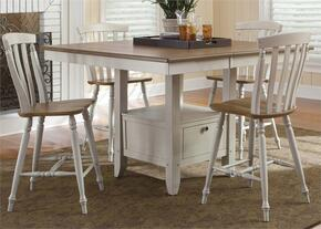 Al Fresco III Collection 841-CD-5GTS 5-Piece Dining Room Set with Gathering Table and 4 Slat Back Counter Chairs in Driftwood & Sand Finish