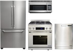 "Dacor Distinctive Series 4-Piece Stainless Steel Kitchen Package With DR30DNGH 30"" Dual Fuel Range DTF36FCS 36"" French Door Fridge, PCOR30S 30"" Microwave Oven, and DDW24S 24"" Built In Dishwasher"
