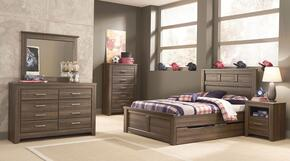 Juararo Full Bedroom Set with Panel Storage Bed, Dresser, Mirror, Chest and 2 Nightstands in Dark Brown