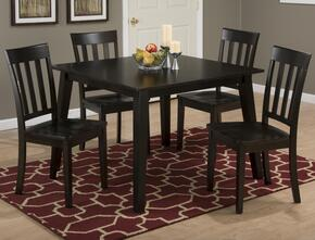 Simplicity Collection 552425SET 5 PC Dining Room Set with Square Dining Table + 4 Slat Back Chairs in Espresso Finish