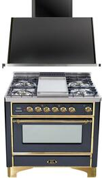 "2-Piece Matte Graphite Kitchen Package with UM90FDVGGM 36"" Freestanding Gas Range (Brass Trim, 4 Burners, Griddle) and UAM90M 36"" Wall Mount Range Hood"