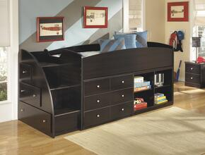 Embrace B239-68T-17-19-13L Twin Loft Bed with Loft Bed Top, Left Storage with Steps, Loft Bookcase and Drawer Storage in Merlot