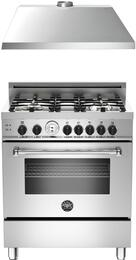 "2-Piece Stainless Steel Kitchen Package with MAS304GASXTLP 30"" Freestanding Liquid Propane Range and KU30PRO1XV 30"" 400 CFM Range Hood"