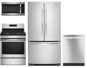"""4 Piece Kitchen Package With WFG520S0FS 30"""" Gas Range, WMH32519FS Over the Range Microwave Oven, WRF535SMBM 36"""" French Door Refrigerator and WDT720PADM 24"""" Built In dishwasher In Stainless Steel"""