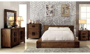 Janeiro Collection CM7628KBDMCN 5-Piece Bedroom Set with King Bed, Dresser, Mirror, Chest and Nightstand in Rustic Natural Tone Finish