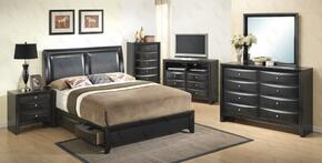 G1500DDKSB2CHDMNTV 6 Piece Set including  King Size Bed, Chest, Mirror, Nightstand and Media Chest  in Black
