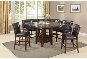 Danville Collection 01280T5C 6 PC Bar Table Set with Counter Height Table + 2 Chairs + 2 Love Chairs + Corner Chair in Walnut Finish