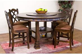 Santa Fe Collection 1225DCDT4C 5-Piece Dining Room Set with Round Dining Table and 4 Chairs in Dark Chocolate Finish