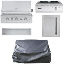 """5-Piece Stainless Steel Outdoor Package with VGBQ53024NSS 30"""" Natural Gas Grill, VGWTO5241NSS 24"""" Side Burner, VOADS5180SS 18"""" Access Door, SD5300SS 30"""" Storage Drawer, and Grill Cover"""