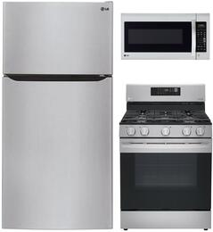 LG Top-Mount Freezer Refrigerator, Single Oven Gas Range and Over-the-Range Microwave - Stainless Steel