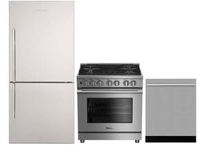 "3-Piece Kitchen Package with BRFB1812SSN 30"" Bottom Freezer Refrigerator, BGRP34520SS 30"" Freestanding Gas Range, and a free DWT57500SS 24"" Built In Fully Integrated Dishwasher in Stainless Steel"