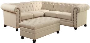 Roy Collection 500222SO 2 PC Living Room Set with Sectional Sofa + Ottoman in Oatmeal Color