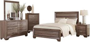 Kauffman Collection 204191QDMCN 5 PC Bedroom Set with Queen Size Bed + Dresser + Mirror +  Chest + Nightstand in Washed Taupe Color