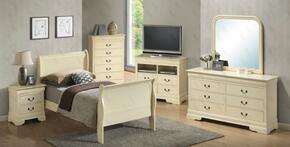 G3175ATBSET 6 PC Bedroom Set with Twin Size Sleigh Bed + Dresser + Mirror + Chest + Nightstand + Media Chest in Beige Finish