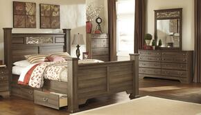 Allymore Queen Bedroom Set with Poster Bed, Dresser and Mirror in Aged Brown