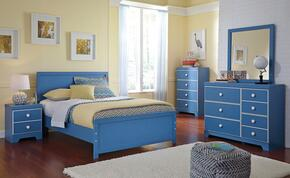 Bronilly Full Bedroom Set with Panel Bed, Dresser, Mirror and Night Stand in Blue
