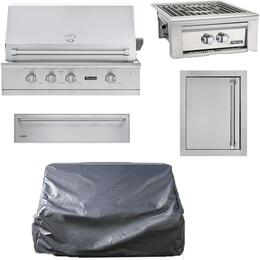 """5-Piece Stainless Steel Outdoor Kitchen Package with VGBQ53624NSS 36"""" Natural Gas Grill, Side Burner, Single Access Door, Storage Drawer, and Grill Cover"""