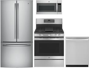 "4-Piece Kitchen Package with GNE25JSKSS 33"" Freestanding French Door Refrigerator, JGB700SEJSS 30"" Gas Freestanding Range, JVM7195SKSS 30"" Over the Range Microwave Oven and GDT695SSJSS 24"" Built In Dishwasher in Stainless Steel"