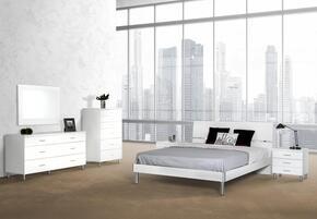 VGDEB1001-WHTTDMCN  Modrest Bravo Twin Size Bed + Dresser + Mirror + Chest + 2 Nightstands in White Finish