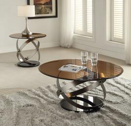 Olly 80925CE 2 PC Living Room Table Set with Coffee Table + End Table in Satin and Black Finish