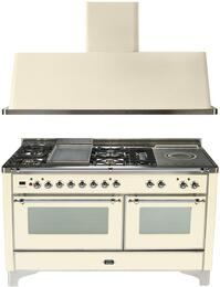 "2-Piece Antique White Kitchen Package with UM150FSDMPAX 60"" Freestanding Dual Fuel Range (Chrome Trim, 5 Burners, French Cooktop) and UAM150A 60"" Wall Mount Range Hood"