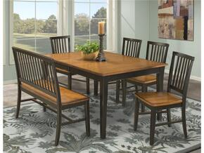 Arlington AR-TA-4278-BBBBLJ  Dining Room Set Including Table, 4 Chairs and  Bench with Distressed Detail in Black Java Finish