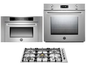 "Professional F30PROXT 30"" Single Electric Wall Oven 3 Piece Stainless Steel Kitchen Package with QB36500X 36"" Gas Cooktop and SO24PROX Built In Microwave"