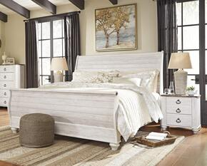 Willowton King Bedroom Set with Sleigh Bed and Single Nightstand in Whitewashed Color