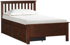 3000-333435S Mission Hills  Twin Bed and with Storage Drawer Distressed Detailing and Block Feet in Chestnut